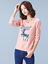 Sweatshirt Femme Grandes Tailles Décontracté / Quotidien Chic de Rue Imprimé Col Arrondi Micro-élastique Coton Manches LonguesPrintemps