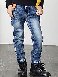 Boy's Cotton Spring/Autumn Fashion Solid Color Monogram Patchwork Zipper Denim Jeans