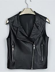 Women's Casual/Daily Street chic Fall / Winter Leather Jackets,Solid Round Neck Sleeveless Black PU Medium Vest
