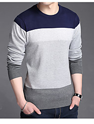 Men's Color Block Casual Pullover,Cotton Long Sleeve Black / Blue