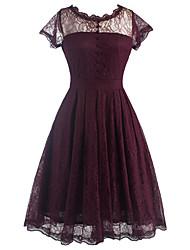 Gaine Robe Femme Décontracté / Quotidien Habillées Vintage,Couleur Pleine Col Arrondi Mi-long Manches Courtes Rouge Noir Coton Polyester
