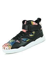 Herren-Sneaker-Outddor Lässig Sportlich-Denim Jeans Stoff-Flacher Absatz-Komfort-Schwarz Weiß Schwarz und Rot