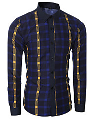 Men's Plaids Casual / Formal Shirt,Cotton Long Sleeve Blue / Red