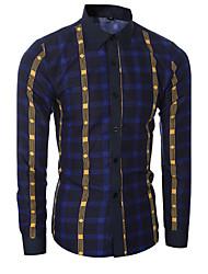 Masculino Camisa Casual / Formal Xadrez Manga Comprida Algodão Azul / Vermelho