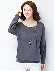 Damen Solide Einfach Lässig/Alltäglich / Übergröße T-shirt,Rundhalsausschnitt Herbst Langarm Rosa / Schwarz / Grau Baumwolle / Polyester