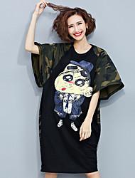 Tee-shirt Aux femmes,Imprimé / camouflage Décontracté / Quotidien simple Automne Manches Courtes Col Arrondi Noir Coton Moyen