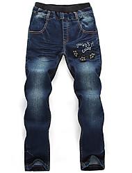 Boy's Cotton Spring/Autumn Fashion  Cat pattern Letter Embroidered Jeans Elasticity Denim Pants
