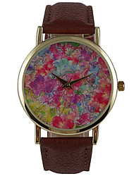 Women's Dress Watch Fashion Watch Water Resistant / Water Proof Quartz PU Band Flower Casual Brown