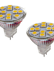2pcs mr11 12led smd5050 2w dc12v 150-200lm blanc chaud / foyer blanc frais