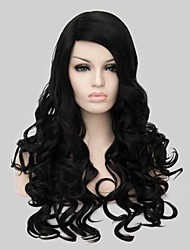 Fashion Synthetic Wigs Black Long Wavy Synthetic Wig Hot Sale.