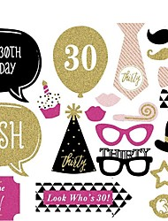 20 Pcs Party Photo Booth Props Birthday Party MasksCool Costume Makeup For Ladies' 30th Birthday