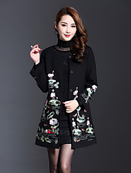 Boutique S Women's Plus Size Vintage / Chinoiserie Coat,Solid / Embroidered Round Neck Long Sleeve Spring