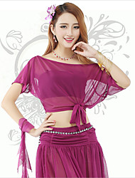 Belly Dance Tops Women's Training Spandex Pleated 1 Piece Purple Belly Dance Short Sleeve Natural Top