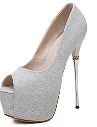 Women's Sandals Summer Sandals / Open Toe Glitter Casual Stiletto Heel Sequin Black / Silver Others