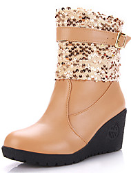 Women's Boots Winter Snow Boots / Round Toe Leatherette  Wedge Heel Sequin / Buckle Black / White / Almond Others