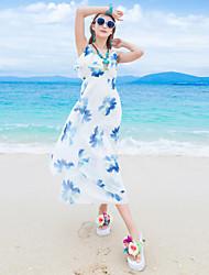 Women's Beach Boho Sheath Dress,Floral Strap Midi Sleeveless White Polyester Summer