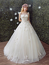 A-line Wedding Dress Chapel Train Scoop Lace / Tulle with Lace
