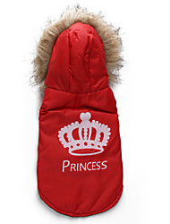 Cães Casacos / Camisola com Capuz Vermelho / Laranja Roupas para Cães Inverno / Primavera/Outono Tiaras e Coroas Da Moda / Mantenha Quente