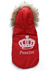 Katzen / Hunde Mäntel / Kapuzenshirts Rot / Orange Hundekleidung Winter Tiaras & Kronen Modisch DroolingDog