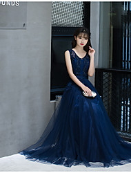 Formal Evening Dress A-line V-neck Floor-length Tulle with Sash / Ribbon