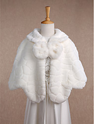 Kids' Wraps Capelets Sleeveless Faux Fur Ivory Wedding Party/Evening Casual Scoop 20cm Bow Hidden Clasp