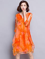 Women's Plus Size Sophisticated Sheath Dress,Solid V Neck Above Knee ¾ Sleeve Orange Silk Fall