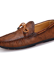 Men's Loafers & Slip-Ons Spring Fall Comfort Leather Casual Flat Heel Blue Brown Walking