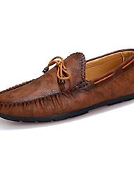 Men's Loafers & Slip-Ons Spring / Fall Comfort Leather Casual Flat Heel Slip-on Blue / Brown Walking