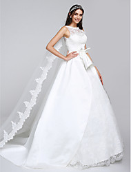 LAN TING BRIDE A-line Wedding Dress Lacy Look Watteau Train Bateau Satin Tulle with Appliques Lace