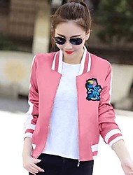 Women's Casual/Daily Street chic Embroidery All Match Fall Jackets,Print Stand Long Sleeve