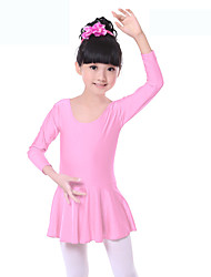 Ballet Dresses Children's Training Spandex Ruched 1 Piece Long Sleeve Natural Dress Kid's Dance Costumes