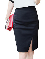 Women's Solid Over Hip Slim Split  Skirts,Simple Knee-length