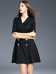 Boutique S Women's Formal Vintage Sheath DressSolid V Neck Above Knee  Length Sleeve White / Black