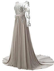 A-Line Illusion Neckline Court Train Chiffon Lace Formal Evening Dress with Beading Appliques Draping Lace Sash / Ribbon by Luoge