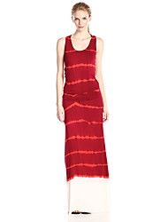Women's Casual/Daily Street chic Tunic Dress,Striped U Neck Maxi Sleeveless Red Wool Summer