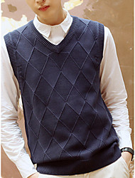 Men's Casual/Daily Vest,Plaid Sleeveless Cotton