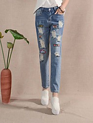 Women's Solid / Print Blue Jeans Pants,Simple / Cute Summer / Fall