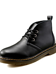 Men's Boots Winter Leather Casual Low Heel Others Black Yellow Burgundy Walking