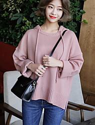 Damen Standard Pullover-Lässig/Alltäglich Einfach Solide Rosa / Schwarz / Lila Mit Kapuze Langarm Baumwolle Frühling Mittel