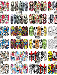 12 Designs Nail Art Halloween Skull Ghost Flower Colorful Interesting Image Nail Beauty A1093-1104