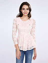 Women's Lace Pink/White/Black Blouse, U Neck Long Sleeve with Peplum