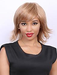 Médio Cor mista lado fofo cima da cauda da moda estrondo cabelo humano peruca para mulheres