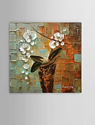 60x60cm Hand-Painted Abstract Thick Flower Oil Painting Wall Art Restaurant Decor With Frame Ready To Hang