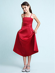 Lanting Bride® Knee-length Satin Junior Bridesmaid Dress A-line / Princess Spaghetti Straps Natural with Ruffles / Sash / Ribbon