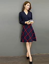 Women's Going out Street chic A Line DressPlaid V Neck Above Knee Long  Fall Mid Rise Micro-elastic Medium