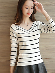 Women's Going out Street chic Regular Cashmere,Striped White / Black Off Shoulder Long Sleeve / Winter Medium