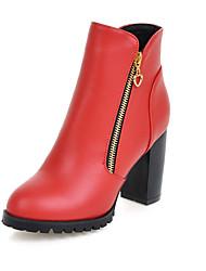 Zapatos de mujer-Tacón Robusto-Botas a la Moda / Punta Redonda-Botas-Oficina y Trabajo / Vestido / Casual / Fiesta y Noche-Semicuero-