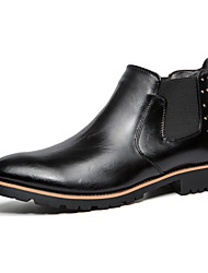 Men Genuine Leather Boots Slip-on Business Boots