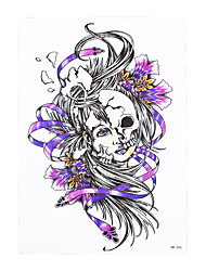 1pc Beauty Women Men Temporary Tattoo Skull Flower Belle Picture Design Waterproof Body Art Tattoo Sticker HB-356