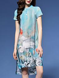 Damen Etuikleid Kleid-Ausgehen Street Schick Blumen Ständer Übers Knie Kurzarm Blau Kunstseide Frühling
